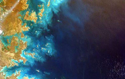 vista dall'alto tra costa e oceano