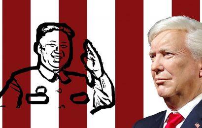 Trump in primo piano con sfondo a strisce bianche e rosse